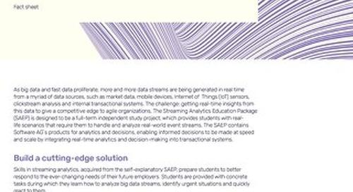 Factsheet:  Streaming Analytics Education Package