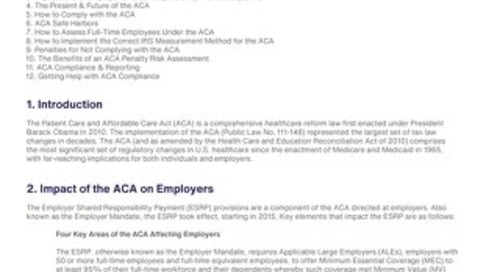 What is The ACA's Employer Mandate?