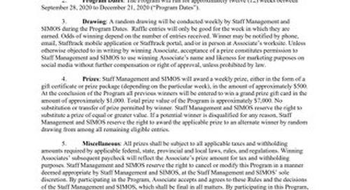 Staff Management | SMX and SIMOS Associate Peak Season Incentive Program Official Rules