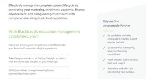 Datasheet: Blackbaud's Cloud Solution for Higher Ed (Education Management)