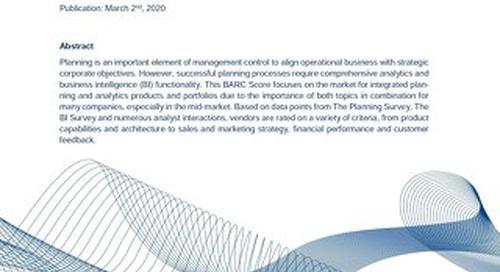 Barc Score Integrated planning & Analytics 2020
