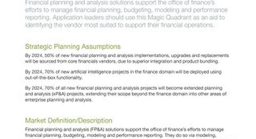Gartner Magic Quadrant for Cloud FP&A 2020