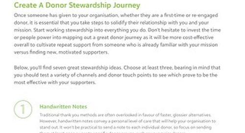 Create A Donor Stewardship Journey Tipsheet