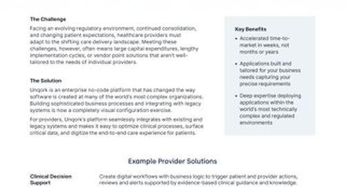 Solution Brief: Unqork for Healthcare Providers