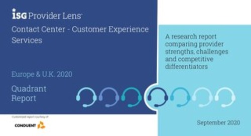 ISG Provider Lens™ Contact Center – Customer Experience Services Europe & U.K. 2020 Quadrant