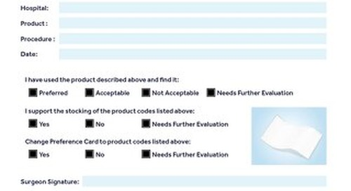 HERNIA REPAIR - Product Evaluation Form