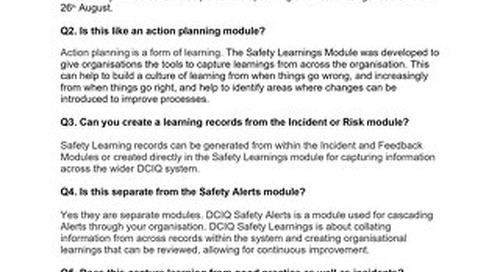 RLDatix Safety Learnings Demo Session Q&A