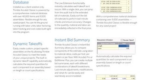 Trimble Accubid Classic Estimating Datasheet