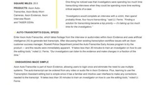 Axon Auto-Transcribe Case Study - Rowlett PD