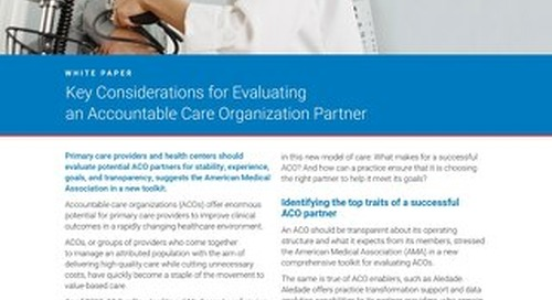 Key Considerations for Evaluating an Accountable Care Organization (ACO) Partner