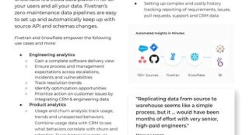 Fivetran for Snowflake - Product & Engineering Analytics