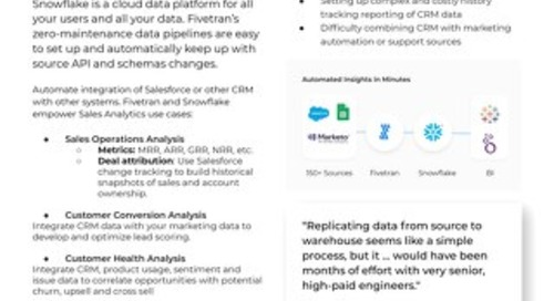 Fivetran for Snowflake - Sales Analytics