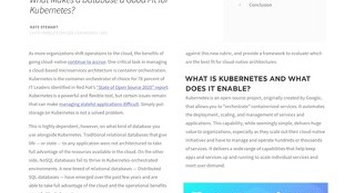 DZone Refcard: Kubernetes Native Database Essentials