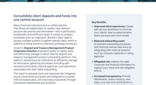Solution Brief: Deposit and Treasury Management Product Origination Solution