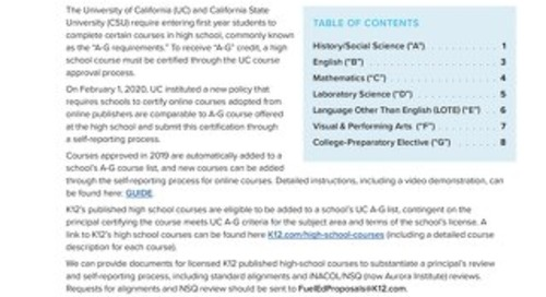 2020-21 California A-G Course List