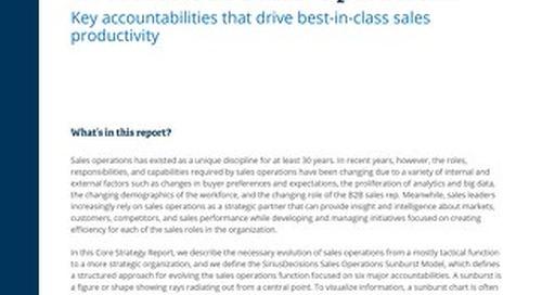SiriusDecisions | Core Strategy Report: Managing the Strategic Evolution of Sales Operations