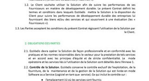 Conditions d'abonnement EcoVadis - Mid-Market