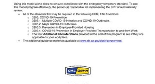 Cal/OSHA Model COVID-19 Prevention Program