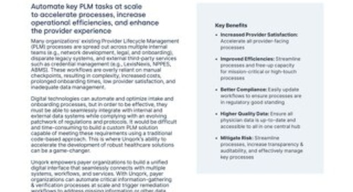 Solution Brief: Provider Lifecycle Management for Payers