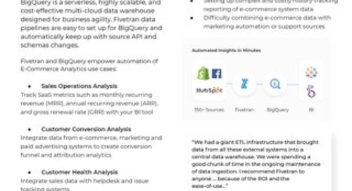 Fivetran for BigQuery - E-Commerce Analytics
