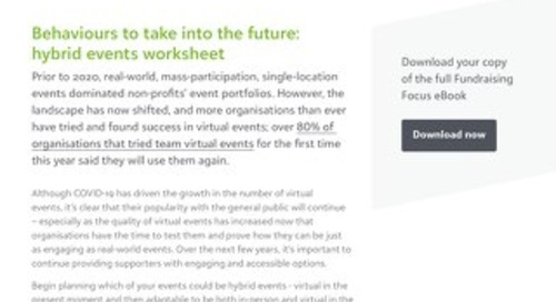 Fundraising Focus: Behaviours to take into the future worksheet