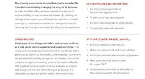 Delivery Drivers [Info Sheet]