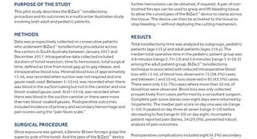 Results of a Pilot Study on Tonsillectomy Using BiZact™ Tonsillectomy Device