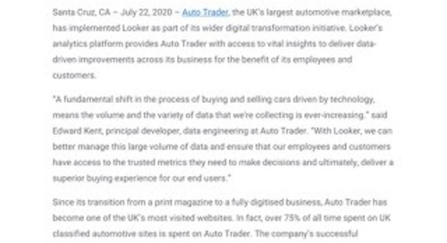 Auto Trader Expands Relationship with Google Cloud to Accelerate Digital Transformation