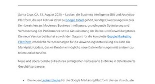 Google Cloud optimiert die Performance und Anwendungsentwicklung von Looker