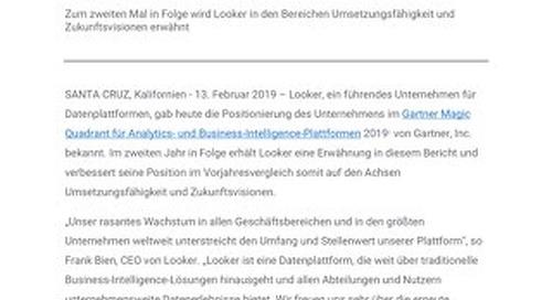 Looker verbessert Position auf beiden Achsen im Gartner Magic Quadrant für Analytics- und Business-Intelligence-Plattformen 2019 im Vergleic
