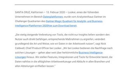 Looker im Gartner Magic Quadrant für Analytik- und Business-Intelligence-Plattformen 2020 als Challenger genannt