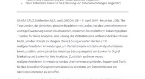 Looker verbessert seine Datenplattform mit der Sales Analytics-Anwendung und leistungsstarken Funktionen für Drittentwickler