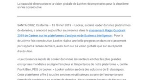 Looker signe une double progression par rapport à l'année dernière dans le classement Magic Quadrant 2019 de Gartner sur les plateformes d'a