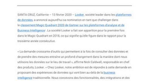 Looker nommé challenger dans le classement Magic Quadrant 2020 de Gartner sur les plateformes d'analyse et de Business Intelligence