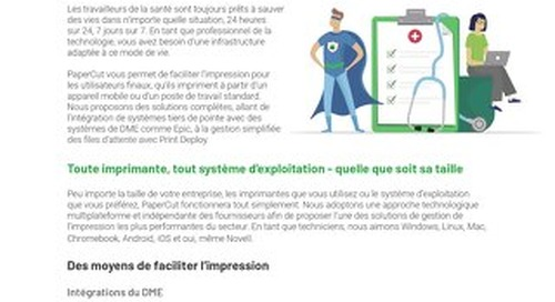 PaperCut Healthcare Ease of Use Flyer en Français