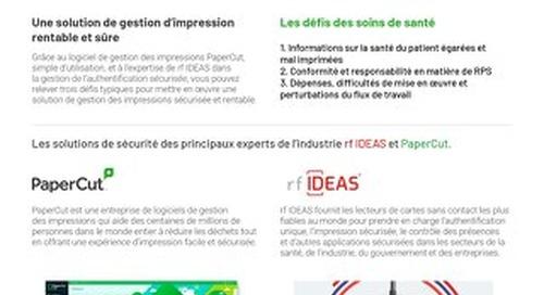PaperCut Healthcare Solutions Brochure rfIDEAS en Français