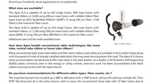 Apex® Fiber Optic Splice Closures FAQs