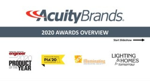 Acuity Brands Lighting New Product and Innovations - Key Awards in 2020