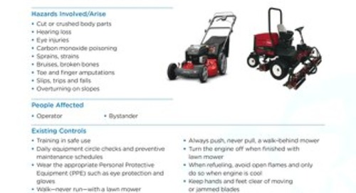 Job Aid - Lawn Mowers / Golf Course Mower