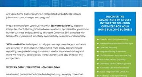 Western Computer 365HomeBuilder Sales Sheet