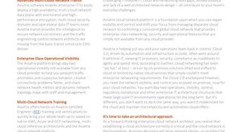 Aviatrix Cloud Network Platform Solution Brief