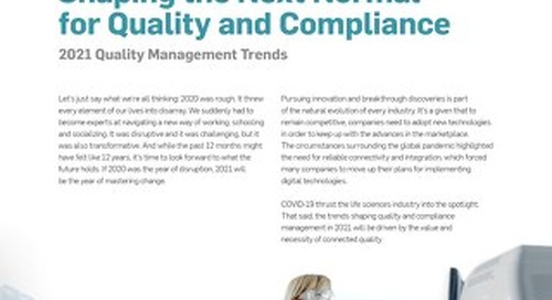 Shaping the Next Normal for Quality and Compliance