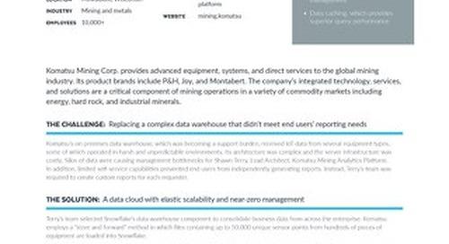 Managing 4 Trillion Rows of Komatsu IOT Data With Snowflake's Data Cloud