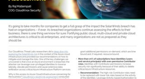 Blog: Learning from SolarWinds to Secure Your Cloud Infrastructure: An Azure Risk Assessment
