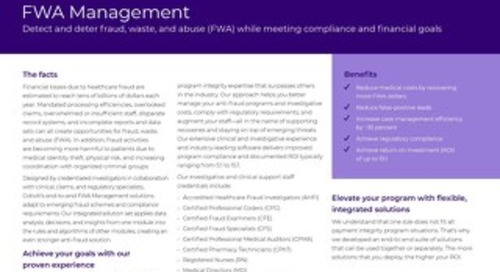 Fraud, Waste, and Abuse (FWA) Management solution