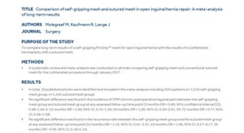 Clinical Summary: ProGrip™ Self-Gripping Polyester Mesh and ProGrip™ Self-Gripping Polypropylene Mesh.