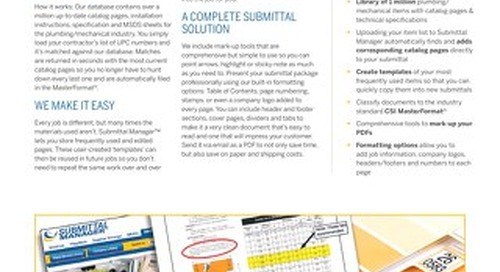 Submittal Manager Datasheet for Plumbing and Mechanical Distributors