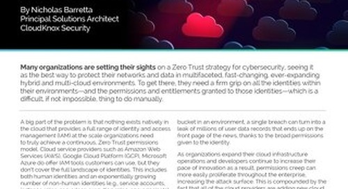 Blog: Managing Permissions and Entitlements is at the Core of a Zero Trust Model in the Cloud