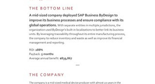 SAP Business ByDesign | ROI Case Study
