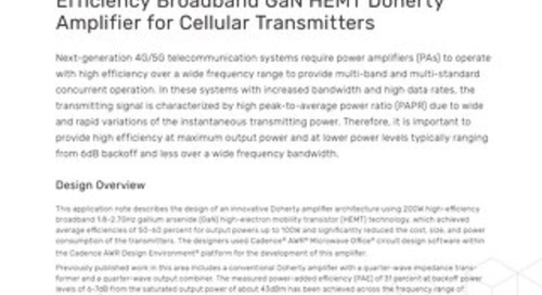 Design of a HighEfficiency Broadband GaN HEMT Doherty Amplifier for Cellular Transmitters